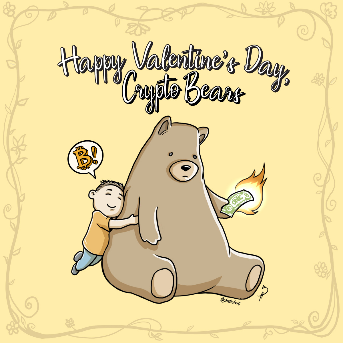 Happy Valentines Day, Crypto Bears! A V-day cartoon by Cryptopop