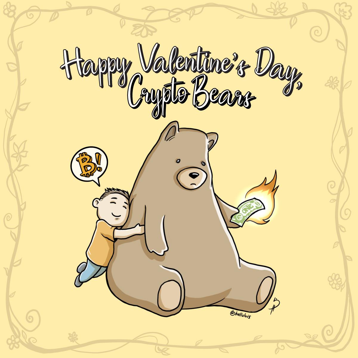Happy Valentines Day, Crypto Bears! A V-day cartoon by Cryptopop